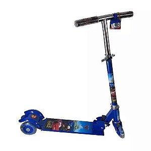 Patinete Infantil Carros 2 Menino 3 Rodas Azul com Regulagem