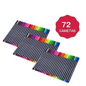 KIt 3 Estojo Com 72 Canetas Tipo Stabilo Canetas Ponta Fina