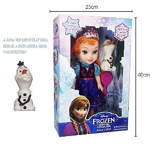 Boneca Frozen Anna 35cm Com Som E Acessórios Princesas