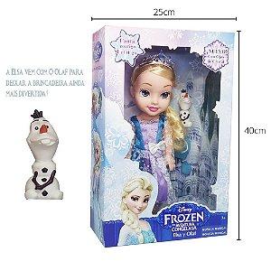 Boneca Frozen Elsa 35cm Com Som E Acessórios Princesas
