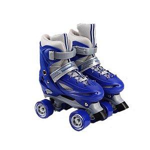 Patins Roller Azul Quad Infantil 4 Rodas Vários Tamanhos