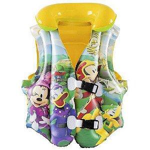 Colete Inflável Infantil Mickey Amarelo Praia Piscina