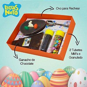 Kit Confeiteiro Luccas Neto 130g Chocolate Belga Páscoa Brinquedeiro
