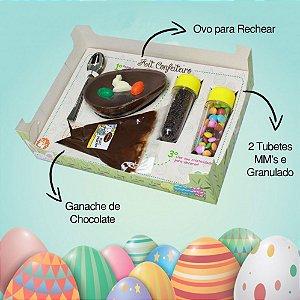 Kit Confeiteiro 130g Chocolate Belga Recheio e Confeitos Páscoa Brinquedeiro