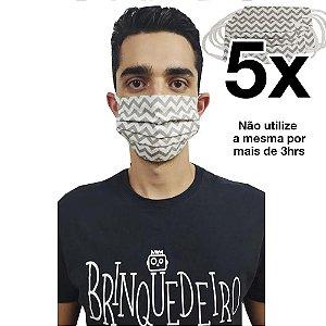 Kit 5 Mascara de Tecido Pano não Descartável Proteção Maxima Reutilizáveis Lavável 2 Camada Uniss