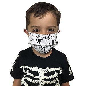 Mascara de Tecido Pano não Descartável Proteção Maxima Reutilizáveis Lavável Duas Camadas Infantil