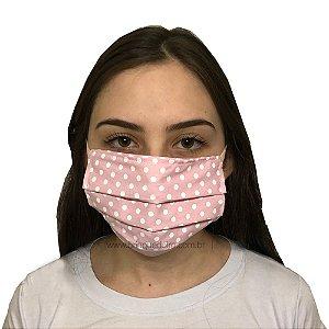 Mascara de Tecido Pano não Descartável Proteção Maxima Reutilizáveis Lavável Poa Rosa Adulto