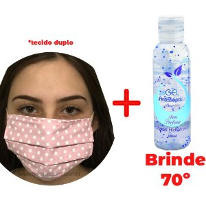 Kit Máscara Rosa Dupla Camada e Alcool em Gel 70%