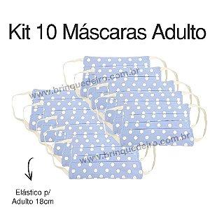 Kit 10 Máscara de Proteção Poa Azul Unissex Camada Dupla