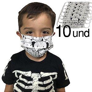 Kit 10 Máscaras Infantil Tecido Proteção Reutilizável
