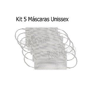 Kit 5 Máscaras de Tecido Poa Estampa Bolinhas Dupla Camada