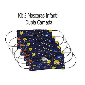 Kit 5 Máscaras Infantil Tecido Pequeno Príncipe Dupla Camada