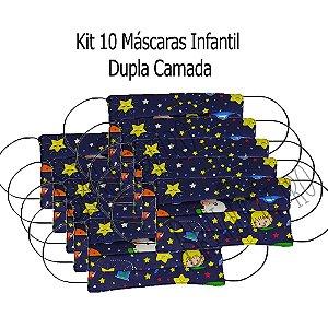 Kit 10 Máscara Infantil Tecido Pequeno Príncipe Dupla Camada
