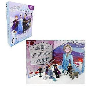 Brinquedo Kit De Figuras Frozen 2 Livro + Cenário Gigante Decoração