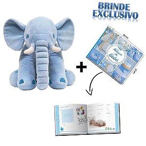 Kit Elefante Pelucia +Album de Fotos Azul Bebe Original Buba