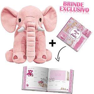 Kit Elefante Pelucia +Album de Fotos para Bebe Original Buba