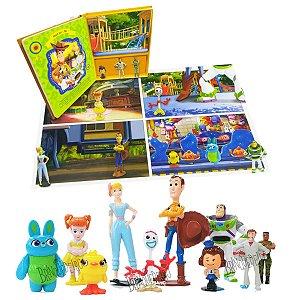 Brinquedo Toy Story com 10 Miniaturas Livro Cenário Gigante