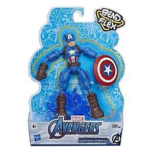 Boneco Capitão América Vingadores Marvel Bend and Flex