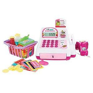 Brinquedo Caixa Registradora Rosa Com Cartão e Acessórios