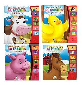 Kit 4 Livros Infantil Conhecendo Os Sons Da Fazenda