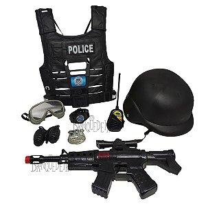 Kit Policial Completo Com Arma Capacete Colete e Acessórios