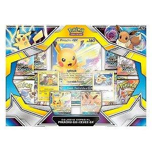 Jogo de Cartas Coleção Especial Box Pokemón Pikachu-Gx e Eevee-gx