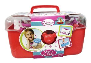Brinquedo Maleta Vermelha Menina Médica Completa