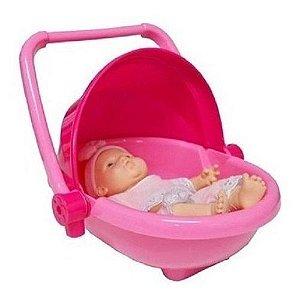 Brinquedo Bercinho Portátil Rosa Boneca Bebê Roma Brinquedos