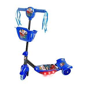 Patinete Infantil 3 Rodas com Som e Luz Carros Azul