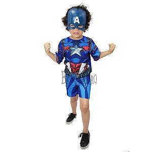 Fantasia Capitão America Curta com Máscara