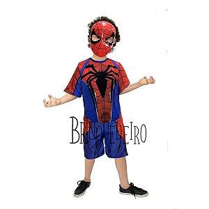 Fantasia Infantil Homem Aranha Curta com Máscara