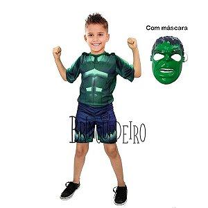 Fantasia Incrível Hulk Curta com Máscara