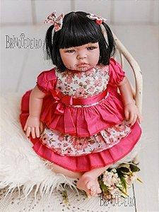 Boneca Bebê Reborn Corpo Algodão e Tnt Chora e Balbucia Morena