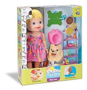 Boneca Bebê Loira Com Cachorrinho Que Come e Faz Caquinha