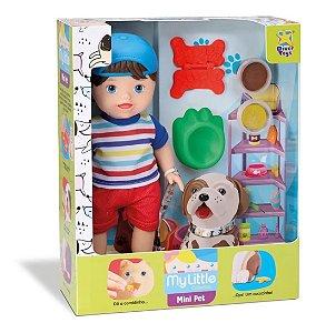 Boneco Bebê Moreno Com Cachorrinho Que Come e Faz Caquinha