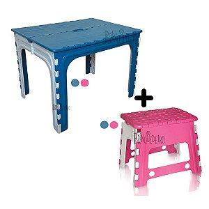 Mesa Infantil Dobrável de Plástico Com Cadeira