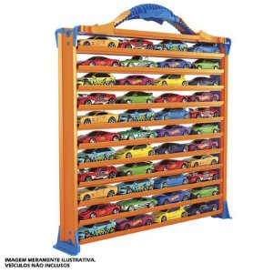 Pista e Porta 44 Carrinhos Hot Wheels 3 em 1 - Fun