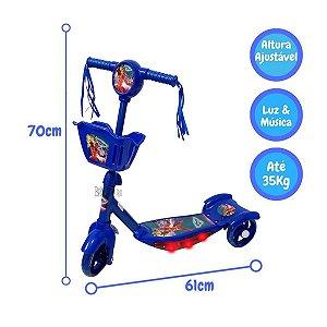 Patinete Azul 3 Rodas 70cm com Som e Luz Heróis Meninos