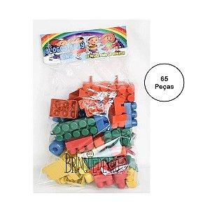 Brinquedo Blocos de Montar Bebê Colorido 65 Peças