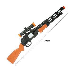 Arma de Brinquedo Com Som e Luz Grande 70cm