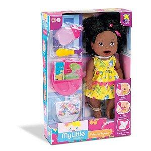Boneca Bebê Negra Come e Faz Caquinha