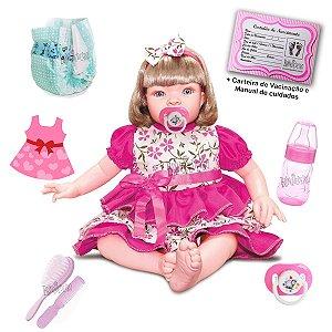 Boneca Bebê Reborn Loira Com Acessórios Completo