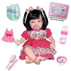Kit Boneca Bebê Reborn Morena Com Acessórios