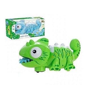 Brinquedo Camaleão Com Som, Luz e Movimento Verde