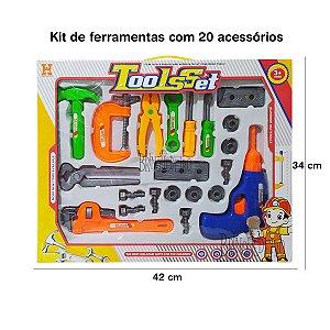 Brinquedo Kit de Ferramenta 20 itens Divertida Meninos