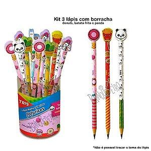 Kit 3 Lápis de Escrever com Borracha Material Escolar Panda