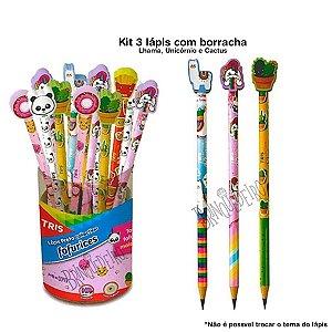 Kit 3 Lápis de Escrever com Borracha Material Escolar Lhama