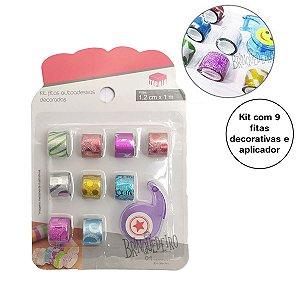 Kit com 9 fitas adesivas Washi Tape Para Decorar Sortida