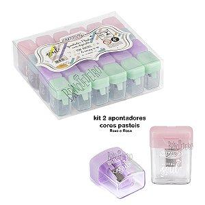 Kit 2 Apontador Plástico Pastel com Depósito Roxo e Rosa