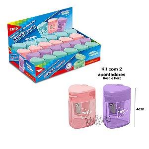 Kit 2 Apontador Com Deposito cor Pastel Rosa e Roxo Tris
